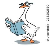 vector goose reading | Shutterstock .eps vector #235202590