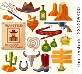 wild west cowboy flat icons set ... | Shutterstock .eps vector #235209400