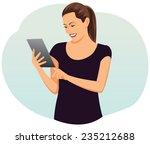 beautiful businesswoman with...   Shutterstock .eps vector #235212688