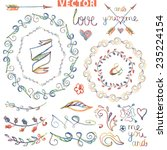 colored doodles wreath floral... | Shutterstock .eps vector #235224154