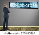 businessman in a room looking...   Shutterstock . vector #235246846