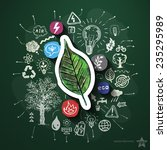 eco energy collage with icons...   Shutterstock .eps vector #235295989