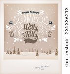 vintage christmas greeting card ... | Shutterstock .eps vector #235336213