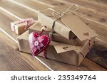 some paper parcels wrapped tied ... | Shutterstock . vector #235349764