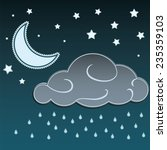 cartoon moon and clouds raining ... | Shutterstock .eps vector #235359103