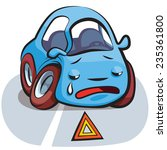 crashed crying blue car cartoon ... | Shutterstock .eps vector #235361800