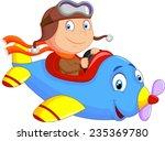 little boy operating a plane | Shutterstock . vector #235369780