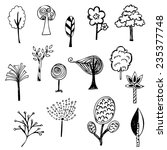 cute of tree sketch on white... | Shutterstock .eps vector #235377748