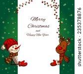 hand drawn snowman and deer... | Shutterstock .eps vector #235378876