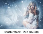 young and sexy woman in white... | Shutterstock . vector #235402888