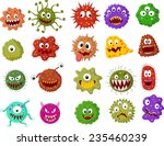 cartoon bacteria collection set   Shutterstock . vector #235460239