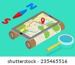 flat 3d isometric mobile gps... | Shutterstock .eps vector #235465516