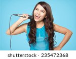 beautiful stylish woman singing ... | Shutterstock . vector #235472368