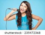 Beautiful Stylish Woman Singin...
