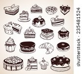 vintage hand drawn pastry ... | Shutterstock .eps vector #235481524