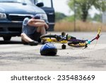 a boy suffering after a bike... | Shutterstock . vector #235483669