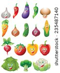 vegetables icons cartoon... | Shutterstock .eps vector #235487140