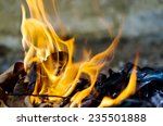 fire burning dry leaf | Shutterstock . vector #235501888