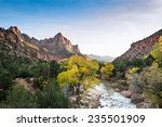 autumn view of the watchman tower and the virgin river in Zion National Park