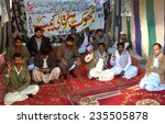 Small photo of QUETTA, PAKISTAN - DEC 05: Members of Socio Economic Development Association (SEDA) Employees Union chant slogans against non-issue their dues salaries on December 05, 2014 in Quetta.