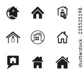 vector home icons set on white... | Shutterstock .eps vector #235525198