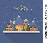 christmas winter city street... | Shutterstock .eps vector #235542748