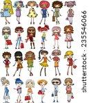 cartoon fashionable girls  | Shutterstock .eps vector #235546066