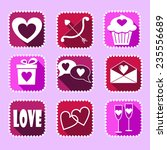 set of valentine icons on a... | Shutterstock .eps vector #235556689
