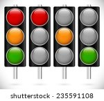 traffic lamps on metallic poles | Shutterstock .eps vector #235591108
