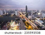 a view over the big asian city... | Shutterstock . vector #235593538