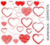red hearts set  isolated on... | Shutterstock .eps vector #235595776