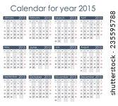 simple 2015 calendar   week... | Shutterstock .eps vector #235595788