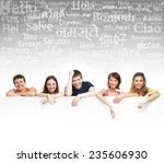 group of teenagers over the... | Shutterstock . vector #235606930