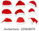 collage of santa hats isolated... | Shutterstock . vector #235608070