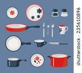 vector set of crockery and... | Shutterstock .eps vector #235610896