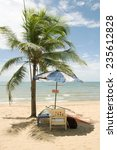 tropical beach with palm trees  ... | Shutterstock . vector #235612828