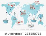 travel set. icons collection on ... | Shutterstock .eps vector #235650718