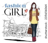 pretty stylish girl on a street ... | Shutterstock .eps vector #235656064