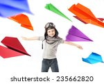 happy kid playing with paper... | Shutterstock . vector #235662820