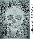 human skull made of flowers ... | Shutterstock .eps vector #235666540