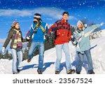 friends having fun in winter | Shutterstock . vector #23567524