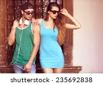 close up portrait of happy...   Shutterstock . vector #235692838
