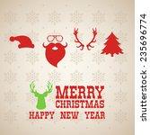 merry christmas lettering ... | Shutterstock .eps vector #235696774