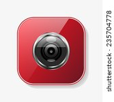 camera red glossy button  vector   Shutterstock .eps vector #235704778