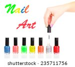 colorful nail polishes ... | Shutterstock . vector #235711756