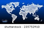scribble world map. white on... | Shutterstock .eps vector #235752910