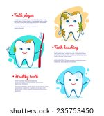 Teeth Brushing Concept. Vector...