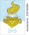 new year poster  girl riding... | Shutterstock .eps vector #235760584