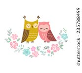 two cute owls in love and... | Shutterstock .eps vector #235788499