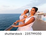 cheerful two women having fun... | Shutterstock . vector #235799350